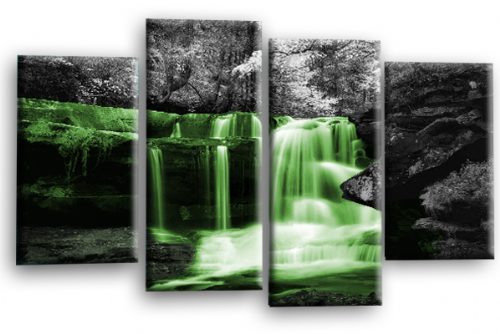Autumn Forest Waterfall Canvas Wall Art Green Grey Picture Print